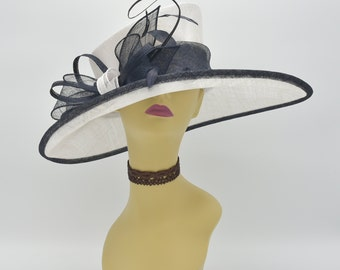 M34 ( White/Navy )Kentucky Derby Hat, Church Hat, Wedding Hat, Easter Hat, Tea Party Hat, Formal Hat 3 Layers Wide Brim Woman's Sinamay Hat