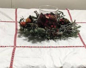 vintage White Linen With Red Ribbon Holiday Decor Tablecloth 100 Percent Cotton