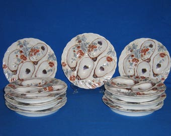 Four well oyster plates- set of 9