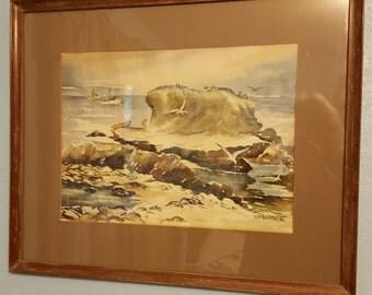 Antique oceanscape watercolor 1956 signed Bob Bechtal