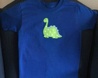 Dinosaur t-shirt, bright blue with green dino - sz 4/5 Fruit of the Loom