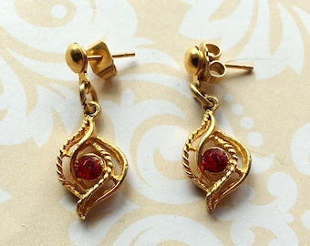 Vintage Gold Drop Earrings with Ruby Red Crystal