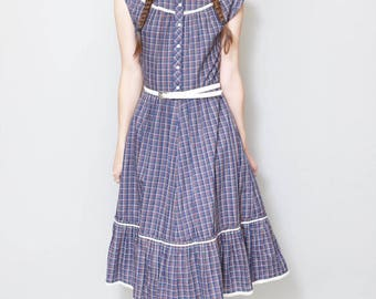 Vintage 1970's Betty Barclay Gingham Print Midi Dress