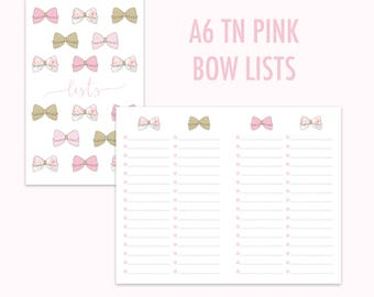 A6 TN Pink Bow Lists