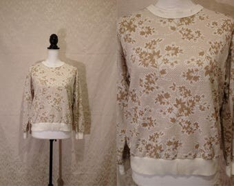 1970s White Gold Sparkly Lattice Plant Floral Garden Grandma Pullover Ugly Sweater Sweatshirt 80s Disco Lightweight Retro 50s Style Medium