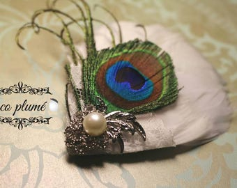 White feather with Peacock feather Fascinator