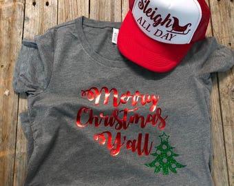 Merry Christmas Y'all - Ladies Shirt