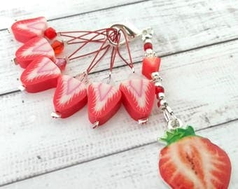 strawberry stitchmarkers - strawberries non snag place keepers - set of six fruit beaded stitch markers with holder