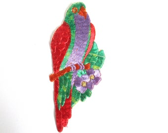 Bird Applique 1930s Vintage Embroidered Bird  Parrot applique. Sewing supply. #6A6GD0KA