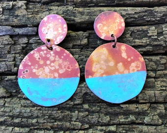 Copper Patina Dipped Drop Earrings - hammered round disc bohemian turquoise artistic dangle earrings
