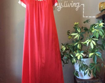 Vintage Lingerie 1950's Red Floor Length Gown / 50s Elegant Lace Nightgown / 1950s Antique Lounge 50's Rockabilly Unique Gift Ideas for Her