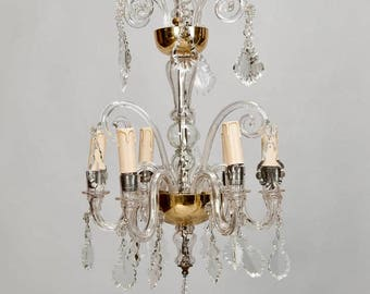 French Tiered All Crystal Six Light Chandelier c.1920 [6787]