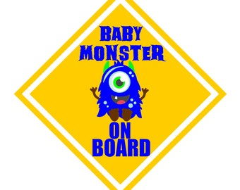 Baby Monster on Board Car Decal-baby on board, baby monster, caution, car decal, vehicle sticker, baby shower gift, monster decal