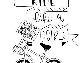 Ride Like a Girl 5x7 print