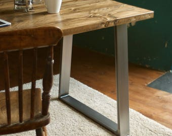 Desk Reclaimed Wood Industrial Trapezium Steel legs Rustic Vintage Custom Made Table Scaffold Wood Office Desk Furniture Bespoke