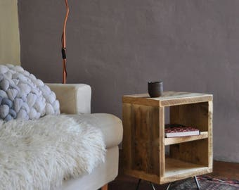 Reclaimed Side Coffee Table Bedside Table Hairpin legs Industrial Rustic Nightstand Scaffold Board Furniture Bedroom Living Room Design