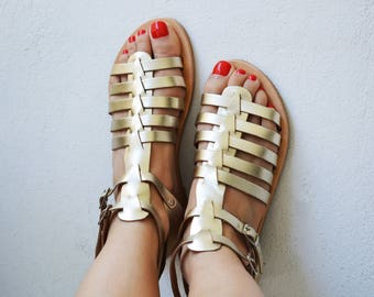 Gold Gladiator sandals, Greek Spartan leather sandals, leather sandals ''Patmos''