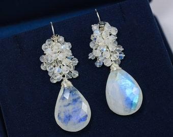 Rainbow Moonstone Earrings Moonstone Cluster Earrings Blue Flash Moonstone Dangle Earrings Silver Earrings Moonstone White Gemstone Earrings