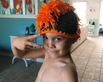 Crochet boys Mohawk team hats