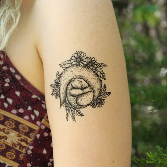 Sleeping Squirrel Temporary Tattoo, Curled Up in a Bed of Daisies, Flowers and Leaves
