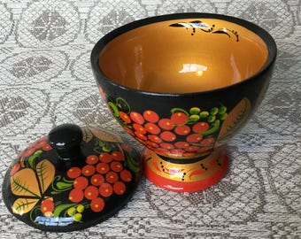 Russian Khokhloma jewelry box wood sugar bowl hand painted storage container Home Kitchen Decor Souvenir for Mother Day Salt Box Easter gift