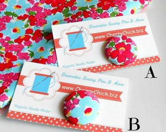 Floral Needle Minder - Fabric Magnetic Needle Minder - Floral Needle Magnet - Gift for Quilter - Needle Keeper - ECS