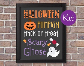 Halloween Sampler Cross Stitch Kit, Counted Cross-Stitch Pattern Kit - Pumpkin, Ghost, Trick or Treat, Candy, Scary, Cute