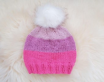 Candy Beanie with or without Fur Pom Pom | Knit winter hat | Autumn hat | Toddler hat | Fur pom pom hat | Pink | Pastel Pink | Glitter Pink