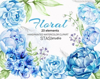 Blue Peonies Clipart Watercolor Blue Flowers Bridal Illustrations Wedding Clipart Floral Invitations Diy Clipart Floral Elements Leaves