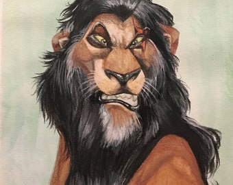 The Lion King Painting, Scar ORIGINAL WATERCOLOR PAINTING, Original Artwork, Watercolor Painting, Original Painting, Disney Painting