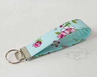 Key fob, keychain, wristlet keychain, key strap, fabric key fob, mint green fabric with floral design***Ready-to-ship***
