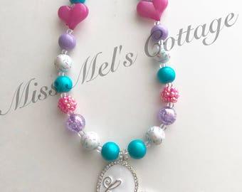 """Pretty Besties Heart Pendant Mini Bubblegum Beads Necklace/BFF/Best Friends/20"""""""
