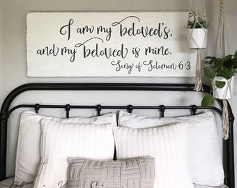 Captivating Bedroom Wall Decor | I Am My Beloveds Sign | Bedroom Decor | Farmhouse Wall  Decor