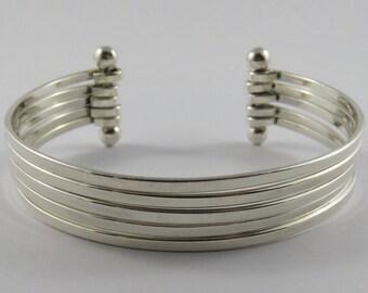 Ladies Sterling Silver Five Strand Cuff Bracelet