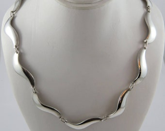 "Sterling Silver Carl Ove  Frydensberg 15"" Necklace With A Wavy Link Pattern"