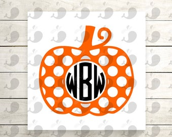 Polka Dot Pumpkin Monogram Iron On Decal, Pumpkin Monogram Iron On Decal, Fall Monogram Iron On Decal, Halloween Monogram Iron On Decal