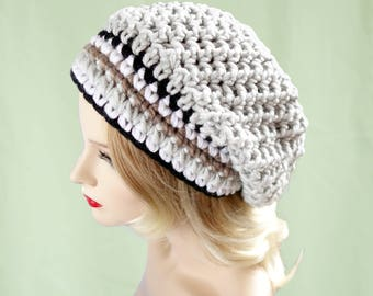 Knit Hat, Crochet Hat, Grey Hat, Womens Gift, Womens Clothing, Womens Hats, Mothers Day Gift,  Slouch Beanie, Hat Knitted, Knitted Hat 010