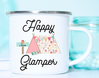 Bachelorette Camp Mugs, Glamping, Happy Glamper Mug, Bachelorette Party Glamping, Bachelorette Camping, Bachelorette Party Camping