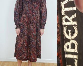 vtg 70s LIBERTY Varuna wool Paisley floral print pattern dress S M