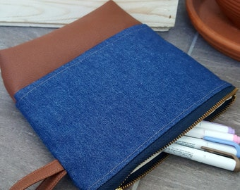 Jeans pouch/ make up bag/ pencil case/ clutch bag/ pouch/  clutch / jeans and vegan leather pouch /travel pouch