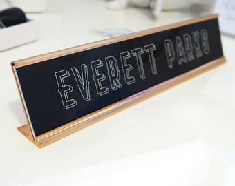 "Custom Wood Nameplate ""Everett"" - Personalized Desk Name Plate Sign Decor - Office Accessories - Modern Office Supplies"