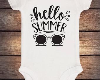 Hello Summer Onesie, Summer Baby Outfit, Baby Boy Shirt, Baby Boy Onesie, Glitter Onesie, Glitter Shirt, Shower Gift, Baby Boy Bodysuit