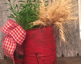 Vintage Sifter With Wheat & Greenery