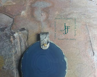 Blue sliced agate pendant