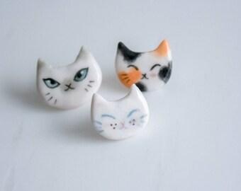 ceramic cat pin, kitten brooch, siamese calico cat, animal lover jewelry, animal pin