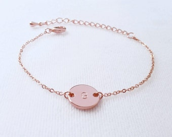 Custom Rose Gold Initial Bracelet, Initial Bracelet, Personalized Disc Bracelet, Handmade  jewelry, Bridesmaid gift