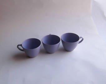Royalon Melmac 3 Purple Plastic Coffee Cups Vintage Set Lot