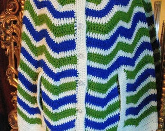Vintage 1970's Hand Crocheted Blue and Green Poncho Cape