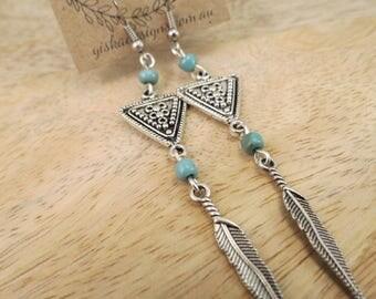 Long Boho Turquoise Feather Aztec Earrings   dangle earrings, charm earrings, turquoise bead earrings, long earrings, boho earrings