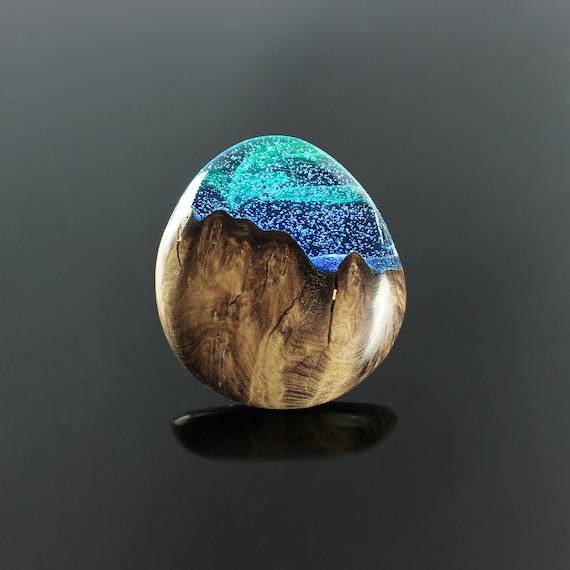 Aurora borealis, bague Northern lights, anniversaire, anneau en bois pour les femmes, bijoux bague en bois, bijoux bois, bague en bois femmes
